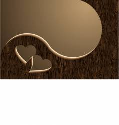 two wooden hearts vector image vector image