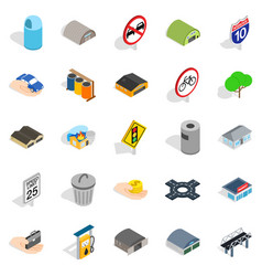 Urban buildings icons set isometric style vector
