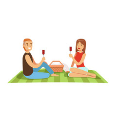 Young couple having picnic man and woman vector