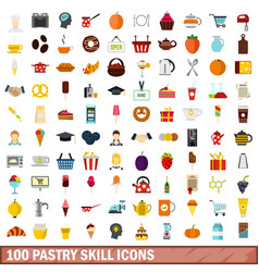 100 pastry skill icons set flat style vector