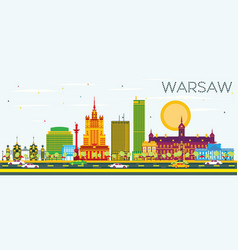 Warsaw skyline with color buildings and blue sky vector