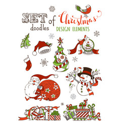 set of christmas design elements isolated on vector image