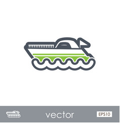 ship boat outline icon summer vacation vector image