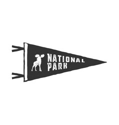 Vintage hand drawn pennant template camping sign vector
