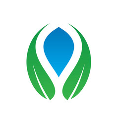 abstract leaf water ecology logo image vector image