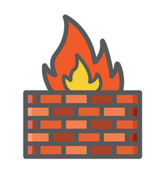 Firewall colorful line icon security brick wall vector