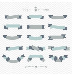 Teal and gray ribbon banners design elements set vector