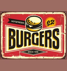 Burgers vintage tin sign vector