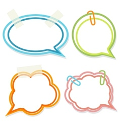 Set of cute bright speech bubbles with scotch tape vector