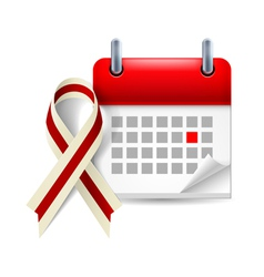 Burgundy and ivory awareness ribbon and calendar vector image