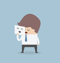 Businessman hide his tired face by holding smile m vector