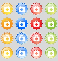 First aid kit icon sign set from fourteen vector