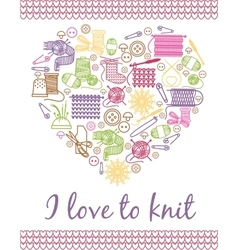 I love knitting heart vector
