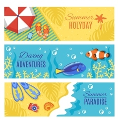 Summer holiday vacation horizontal banners set vector