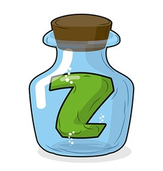 Z in laboratory bottle letter in magical vessel vector