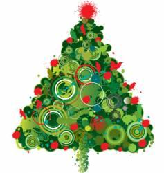 Grunge christmas tree vector