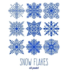 Hand drawn snow flakes set vector