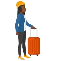 Woman standing with suitcase vector