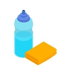 Yellow sponge and bottle icon isometric 3d style vector image