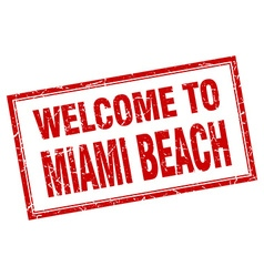 Miami beach red square grunge welcome isolated vector