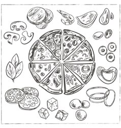 Whole and sliced italian pizza vector