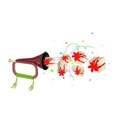 A musical bugle blowing many gift boxes vector