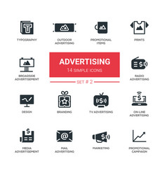 Advertising - modern simple icons pictograms set vector
