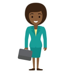 afro american businesswoman character with case in vector image vector image