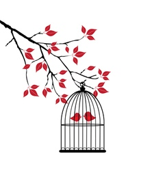 bird cage red vector image
