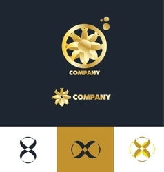 bstract sign gold flower logo vector image vector image