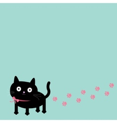 Cartoon cat and paw print track in the corner vector