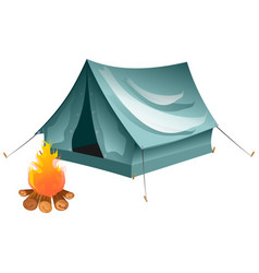 cartoon tent and set bonfire isolated vector image vector image