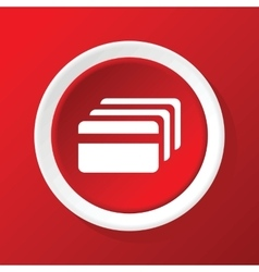 Credit card icon on red vector