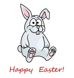 Cute little grey happy easter bunny vector