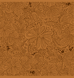 Doodle floral seamless pattern brown tones vector