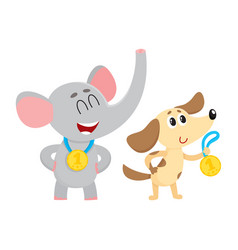 Elephant and dog puppy characters champions with vector