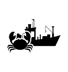 Fishing boat and crab icon vector