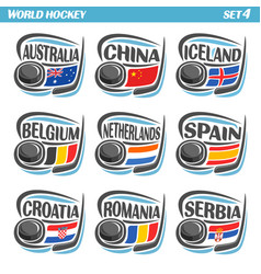 flags of european national ice hockey teams vector image