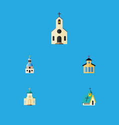 Flat icon christian set of religious architecture vector