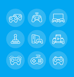 Gamepads line icons set vector