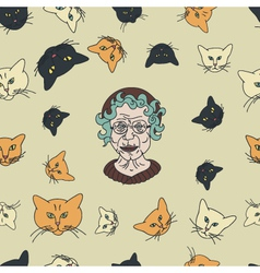 Grandmas cats pattern vector