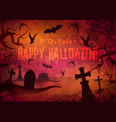 halloween poster with cemetery vector image vector image