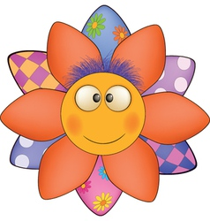 Happy cartoon flower sun soft toy vector image vector image