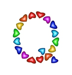 Letter Q made of multicolored hearts vector image