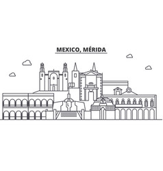 Mexico merida architecture line skyline vector