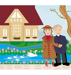 Retired couple walking in the garden vector