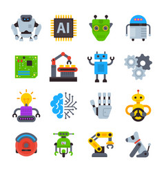 robot icons set logo robotic machine vector image