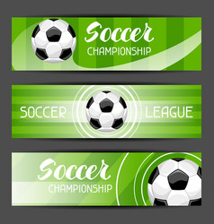 Soccer stylized banners with ball football symbol vector
