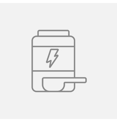 Sport nutrition container line icon vector image
