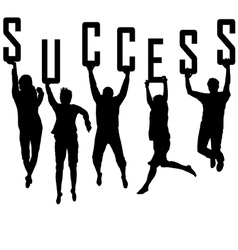Success concept with young team silhouettes vector image